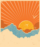 Blue sky with beautifull clouds.Vector retro poster Royalty Free Stock Photography