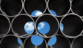 Metal Pipes Background. Blue sky behind bundle of pipes Royalty Free Stock Photos