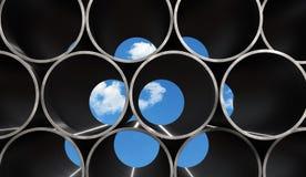 Metal Pipes Background. Blue sky behind bundle of pipes vector illustration