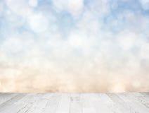 Blue sky behind wooden floor Stock Photo