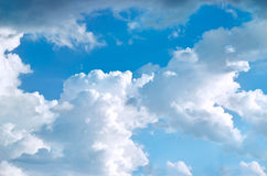 Blue sky with big clouds background Royalty Free Stock Photo