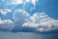 Blue sky with big clouds. beautiful sky as a postcard.  Royalty Free Stock Photos
