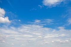 Blue sky with big clouds. beautiful sky as a postcard.  Stock Photos