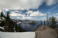 Blue skies at Crater Lake National Park Stock Photography