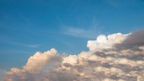 Blue Sky and Big Clouds with morning light Stock Image
