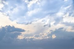 Blue sky with big clouds after a thunderstorm. The sky with clouds stock image