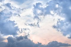 Blue sky with big clouds after a thunderstorm. The sky with clouds royalty free stock images