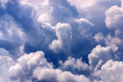 Dramatic sky and white clouds stock photos