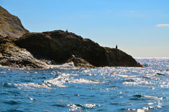 Blue sky, birds, sea waves, rocky shore on the Black sea in Crimea. Royalty Free Stock Photo
