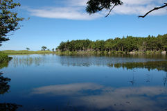 Blue sky in the blue lake. Landscape with  reflection in the lake Stock Photography