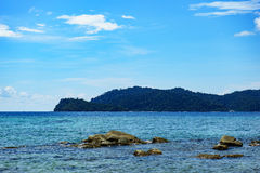Blue sky and blue ocean. Blue and Limpid sea in Easter Malaysia Stock Images