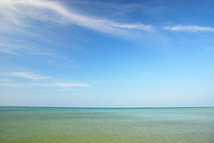 Blue sky and blue sea. Beautiful Royalty Free Stock Photos