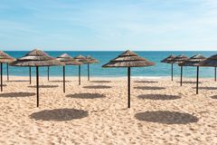 Free Blue Sky, Blue Sea And Parasols At Beach In Portugal Stock Image - 40679631
