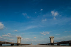 Blue sky and bridge wallpapers and background Stock Image