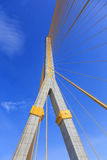 Blue sky with brigde and cable yellow Stock Images