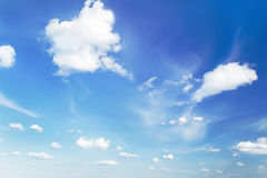 Blue sky bright background and tiny light clouds. Sunny day. Royalty Free Stock Image