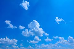 Blue sky bright and big cloud beautiful, art of nature with copy space for add text.  Royalty Free Stock Image