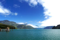 Blue sky, bright blue water Royalty Free Stock Images