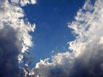 Blue Sky. Bright blue summer sky with clouds royalty free stock photos