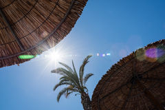 Blue sky and bright sun. Deep blue sky and bright sun Stock Images