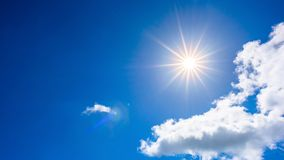 Blue sky with bright sun royalty free stock photography