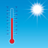 Blue sky with bright sun and thermometer - vector Royalty Free Stock Photos