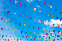 Celebration Flags Blue Sky Bunting Stock Photography