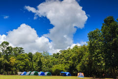 Blue sky with Camping tent Stock Photography