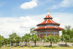 Blue Sky and Chinese Pagoda at  Thailand. Blue Sky and Pagoda at  Thailand temple Royalty Free Stock Photography