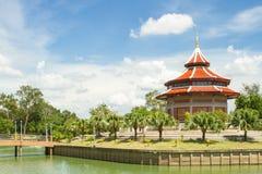 Blue Sky and Chinese Pagoda at  Thailand. Blue Sky and Pagoda at  Thailand temple Royalty Free Stock Photos