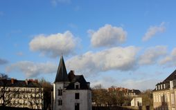 The blue sky in the city royalty free stock photos