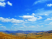 Blue sky with cloud. Landscape with country and blue sky with clouds stock photography