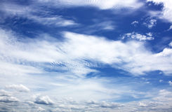 Blue sky with cloud closeup Stock Images