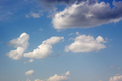 Blue sky with cloud closeup. Blue sky with clouds background Royalty Free Stock Photography