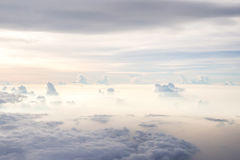 Blue sky with cloud. Cloudy with blue sky. Nature and abstract background. Blue sky from airplane window view. Likes heaven on earth stock photos