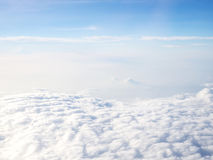 Blue sky with cloud. Cloudy with blue sky. Nature and abstract background. Blue sky from airplane window view. Likes heaven on earth royalty free stock image