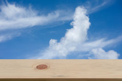 Blue sky and cloud with empty wooden Stock Photo