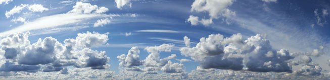 Blue sky with cloud, panoramic sky background.  royalty free stock photo