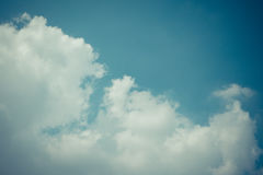 Blue sky cloud , process in vintage style Stock Images