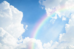 Blue sky cloud with rainbow Royalty Free Stock Image