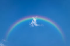 Blue sky cloud with rainbow. Nature cloudscape with blue sky and white cloud with rainbow Stock Photo