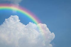 Blue sky cloud with rainbow. Nature cloudscape with blue sky and white cloud with rainbow Royalty Free Stock Photography