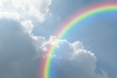 Blue sky cloud with rainbow. Nature cloudscape with blue sky and white cloud with rainbow Royalty Free Stock Photo