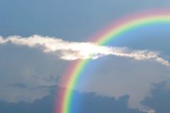 Blue sky cloud with rainbow. Nature cloudscape with blue sky and white cloud with rainbow Stock Image