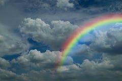 Blue sky cloud with rainbow. Nature cloudscape with blue sky and white cloud with rainbow Stock Images