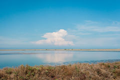 Blue sky with Cloud reflection with water in saline at Thailand. Landscape photograph. Royalty Free Stock Images
