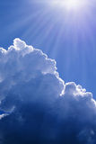 Blue sky cloud and sunlight background Stock Images