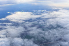 Blue sky and Cloud Top view from airplane window Royalty Free Stock Images