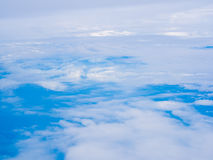 Blue sky with cloud view from window of airplane Stock Photography