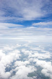 Blue sky and cloud. Window airplane view. Royalty Free Stock Photography